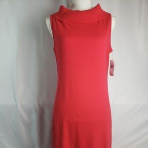 Rafaella Womans Red Rib Knit Sleeveless Dress